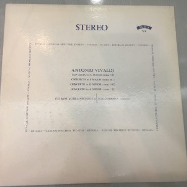 Antonio Vivaldi, Max Goberman, New York Sinfonietta – Antonio Vivaldi – Concertos in C MAJOR, E MAJOR, D MINOR, A MINOR, Vinyl LP, Musical Heritage Society – MHS-V4, USA